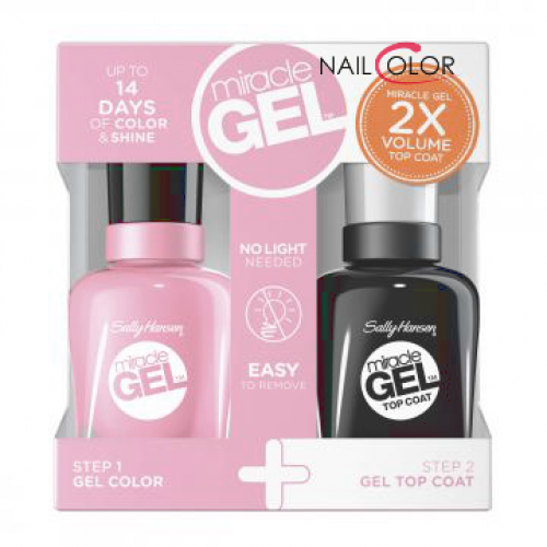 Zestaw Miracle Gel lakier do paznokci 160 Pinky Promise + Miracle Gel Top Coat utwardzacz